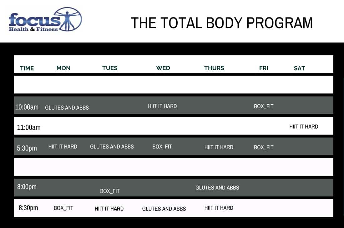 Total Body Timetable